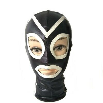 Latex Mask headgear Full Head Hooded Cosplay Costumes BDSM bondage club roleplay