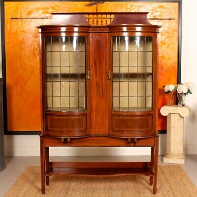 Antique Glazed Bookcase Edwardian Mahogany Display Cabinet 19th Century Leaded