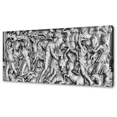 Old Ancient Roman Relief Sculpture Sarcophagus Box Canvas Print Wall Art Picture