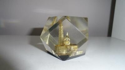 Washington DC Acrylic Paperweight Capitol Building Monument prism Gold Lucite