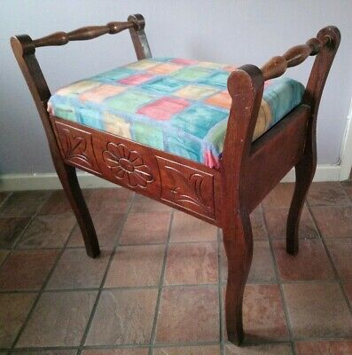 Vintage Antique Pre-1950s Wooden Piano Stool With Storage Reupholstered