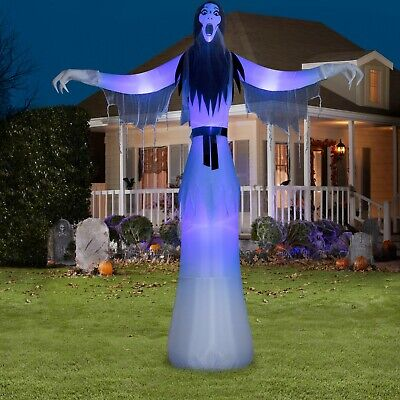 12 FT LADY PHANTOM Halloween Airblown Lighted Inflatable SHORT CIRCUIT LIGHTING