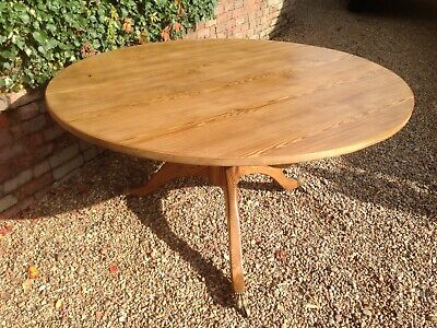 Large Round Victorian Tilt Top Pine Farmhouse Kitchen Dining Table