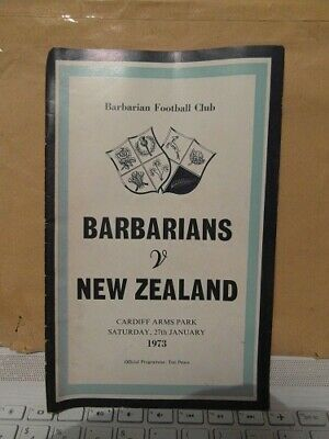 1973 Barbarians V New Zealand   Rugby Union Programme