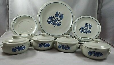 Vtg Pfaltzgraff Yorktowne Blue Soup Dishes w/ Lids Dinner Luncheon Plates