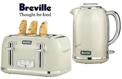 Breville Flow Kettle and Toaster Set Cream Kettle & 4-Slot Toaster - New