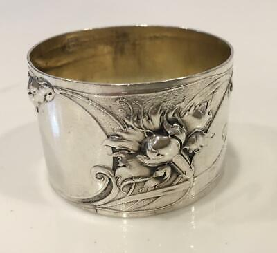 Exceptional art nouveau ornate sterling silver napkin ring engraved M.S or S.M