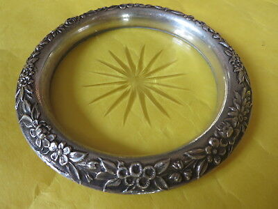 "1920s KIRK & Son 4"" FLORAL REPOUSSE STERLING SILVER & CUT CRYSTAL '24' COASTER"