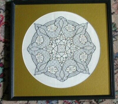 Beautiful completed embroidery celtic knots gold black work - Framed