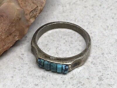 Old Pawn Native American Sterling Silver Turquoise Cobblestone Band Ring- Sz 7.5