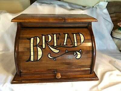 "Vintage  Wooden ""Bread"" Box Roll Top  Estate Find Nice Condition"