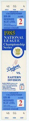 full ticket NLCS 1985 game 2 Dodgers vs Cardinals Hershiser win Greg Brock HR