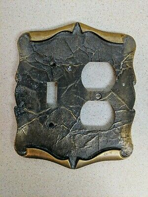 Vintage Antique Amerock Brass Combo Dual Outlet Switch Plate Carriage House