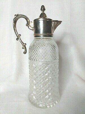 FB Rogers Italy Glass & Silver Plate Pitcher Carafe Decanter Handle & Spout