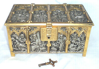Antique Marked Bs Figural Religious Scenes Gothic Bronze Relief Jewelry Box Key
