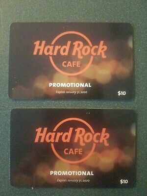 Hard Rock Cafe Promotional Gift Cards $10 Each 2 Total expires January 31 2020