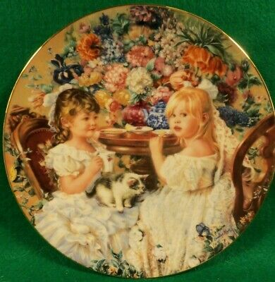 "Collector Plate "" The Tea Party"" by Sandra Kuck. from ""Hearts and Flowers' COA"