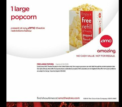 AMC Theaters 1 Large Popcorn - Exp 6/30/2020 - Email Delivery