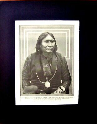 Comanche Indian Chief Gray Leggings photo print original 1914 printing matted