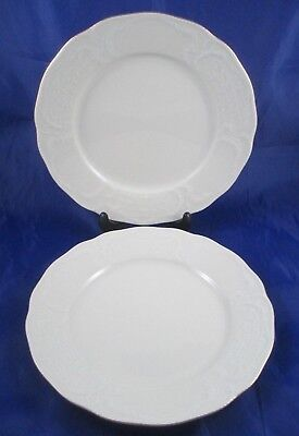 "Set Of 2 Rosenthal Classic Sanssouci Gold Trim 9 3/4"" Embossed Dinner Plates"