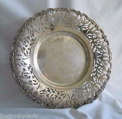 "Estate Silver Reticulated Footed  Dish Cake Plate 12""  ~ Floral Leaves Sterling"