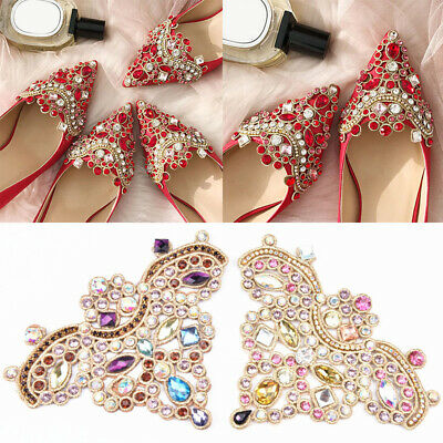 2PCS Crown Glass Rhinestone Shoes Patches Applique DIY Craft Wedding Embroidery