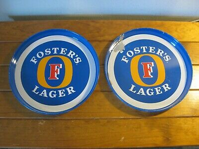2 x Retro FOSTER'S LAGER Beer Trays.- Metal (Mancave) Round - Australian Beer