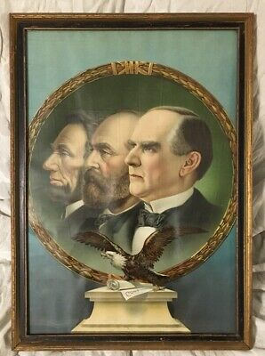 The Three Martyred Presidents Lincoln Garfield McKinley Assassination Print 1901