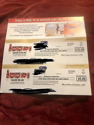 Enfagrow Coupons/checks  $ 15.00 EXP 11/30/2019