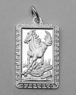 Sterling Silver Chinese Zodiac Horoscope Square Animal Pendant NEW