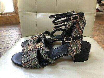 New Chanel 41.5 Sandals Tweed Multicolor Leather Quilted Black CC Buttons 17C