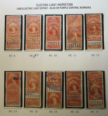 Canada FE8//FE17, Used Lot Of 10 Electric Light Inspection Stamps On Page