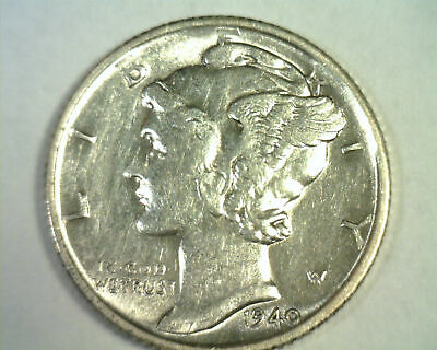 1940-S MERCURY DIME ABOUT UNCIRCULATED+ AU+ NICE ORIGINAL BOBS COIN INC 99c SHIP