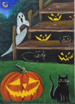 ACEO Original Halloween Acrylic Painting Black Cats Pumpkins Hiding Ghost Stairs