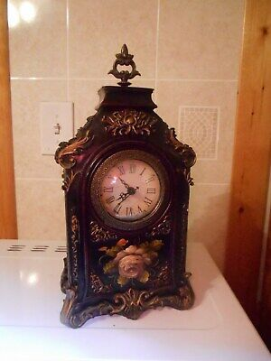 Beautiful Flowered Reprod.Victorian/Antique-Look Mantle Clock-Battery Run/Works.