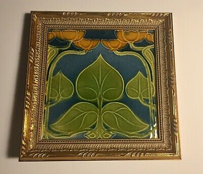 Vintage Art Nouveau Tile T and R Boote Orange Flowers Ceramic Majolica England
