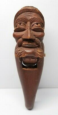 Antique Black Forest Wooden Figural Nutcracker Bearded Man w/ Spectacles & Cap