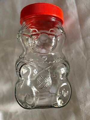 VINTAGE  80's Kraft Peanut Butter GRANDMA Bear KNITTING GLASS JAR With Lid