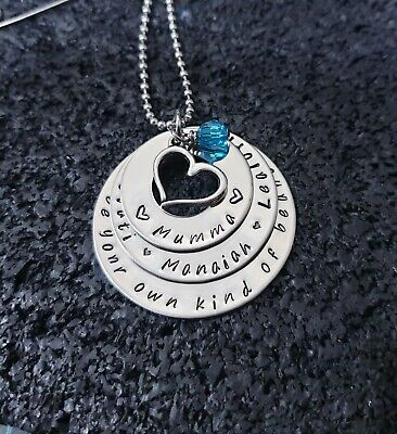 hand stamped stainless steel 3 tier heart necklace Personalised Pendant