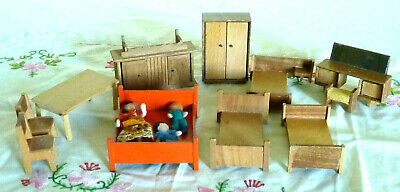 Vintage Bulk Lot Of Doll House Wooden Furniture + Three Wire People