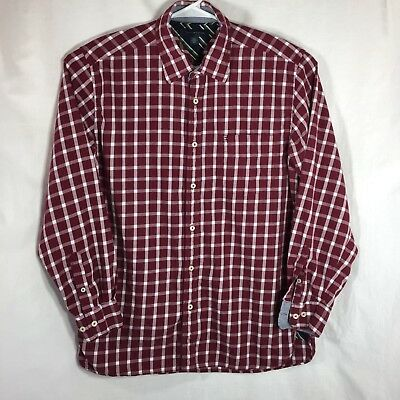 Tommy Hilfiger Mens Large Shirt Burgundy Plaid Check Long Sleeve Button Up Front