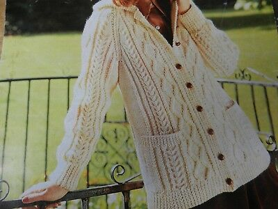 """Knitting Pattern Womens Ladies Aran Cable Jacket with Pockets 34-40"""" Vintage"""