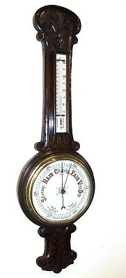 Antique Carved Oak Aneroid Banjo Barometer & Thermometer : China Dials (b24)