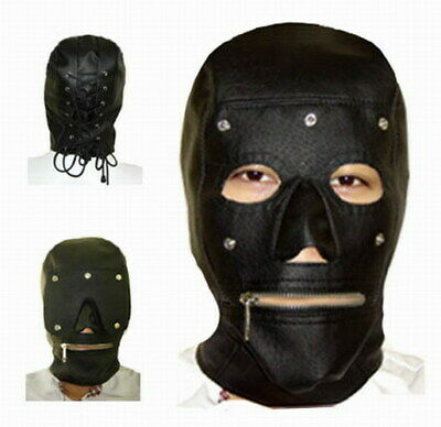 Removable eye-pad zip-mouth head Mask PU Leather Gimp Hood Sensory Deprivation