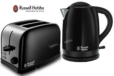Russell Hobbs Dorchester Kettle and Toaster Black Kettle & 2-Slot Toaster - New