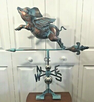 3D FLYING PIG Weathervane AGED COPPER PATINA FINISH Functional NEW! FREE MOUNT