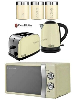 Russell Hobbs Dorchester Kettle and Toaster with Microwave & Canisters - Cream