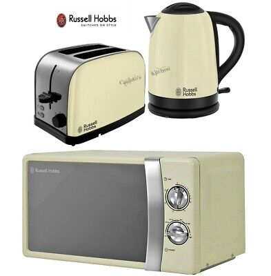 Russell Hobbs Dorchester Kettle and Toaster with Manual Microwave - Cream
