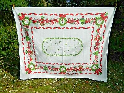 Vintage Christmas Tablecloth Shiny Brites Candy Cane Pine Cones 51 x 62