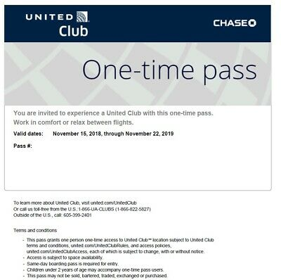 2 United Club One Time Pass EXP Nov 22, 2019 E-delivery